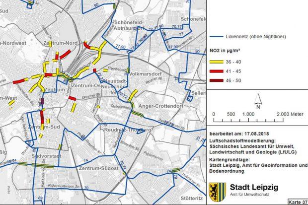 Die noch immer zu hoch mit Stickoxid belasteten Straßen (rot). Karte: Stadt Leipzig, Luftreinhalteplan 2018