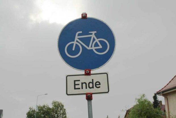 Radweg Ende. Foto: Ralf Julke