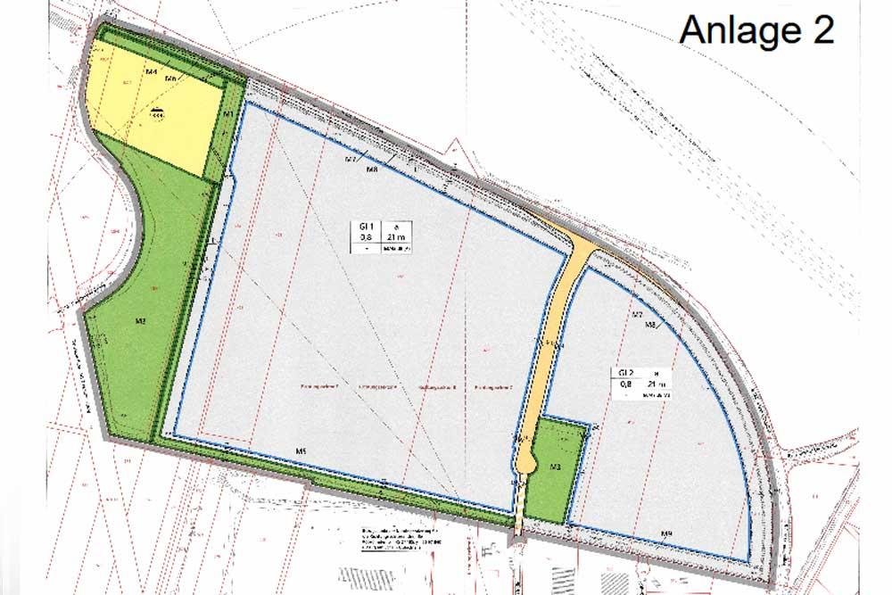 Seehausen II mit den beiden Baufeldern und der Erschließungsstraße. Karte: Stadt Leipzig