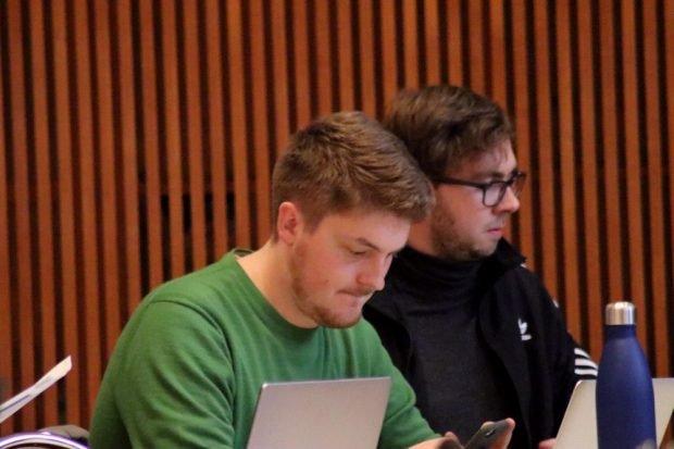 William Rambow und Michael Neuhaus (Die Linke). Foto: Michael Freitag