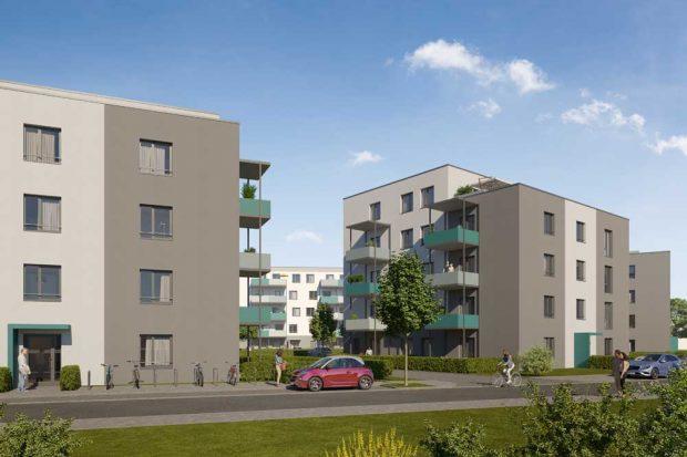 Der geplante Block A an der Landsberger Straße. Visualisierung: Vonovia