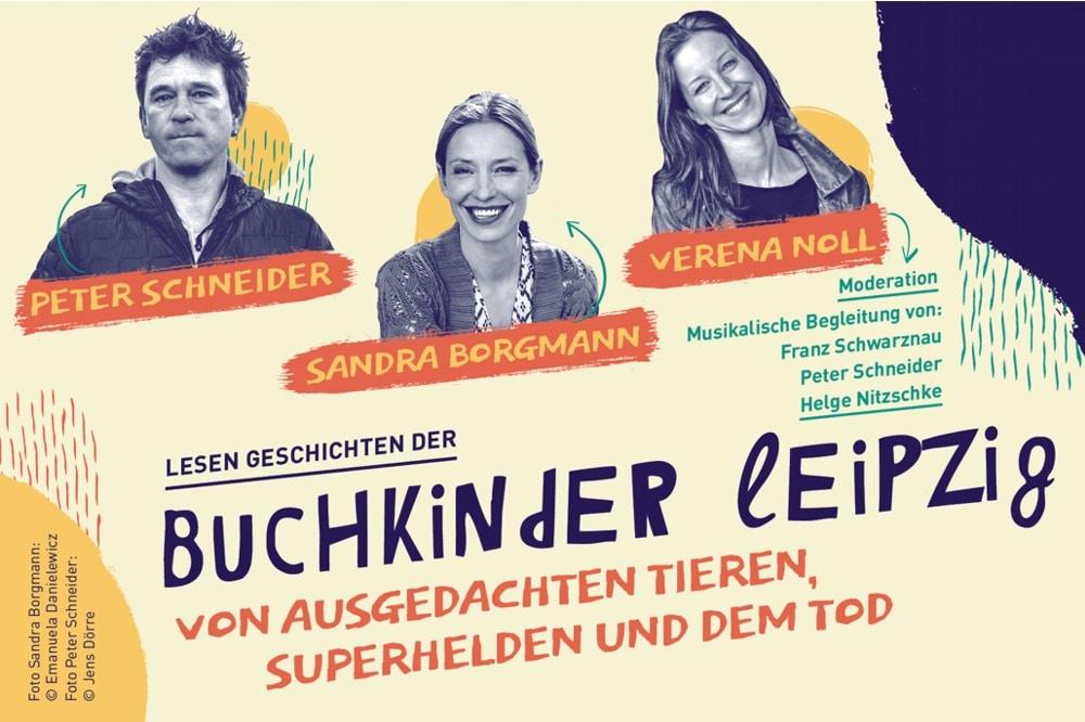 Am 15. November 2019 ist Benefiz-Lesung der Buchkinder ua. mit Sandra Borgmann und Peter Schneider. Grafik: Buchkinder Leipzig e.V.