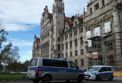 Bombendrohung gegen Neues Rathaus und Stadthaus am 28. November 2019. Foto: Lucas Böhme