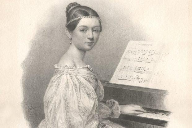 Clara Wieck als 16-Jährige am Klavier sitzend. Lithografie von Julius Gierre, 1835. Quelle: Stadtgeschichtliches Museum