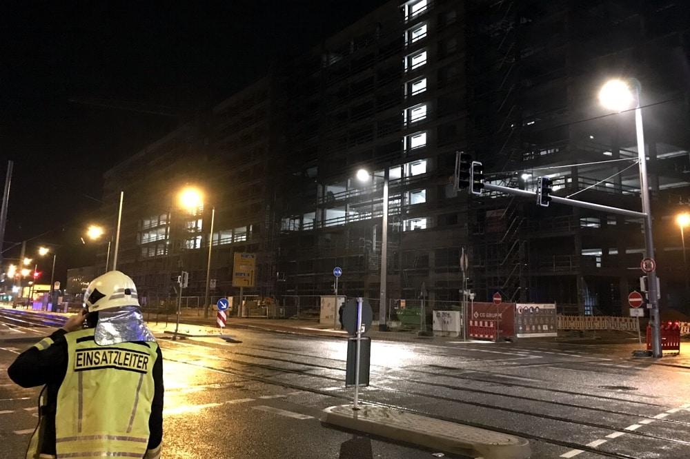 Ein Brand und explodierende Gasflaschen in der Nacht zum 3. Oktober 2019 an der Pragerstraße. Foto: L-IZ.de