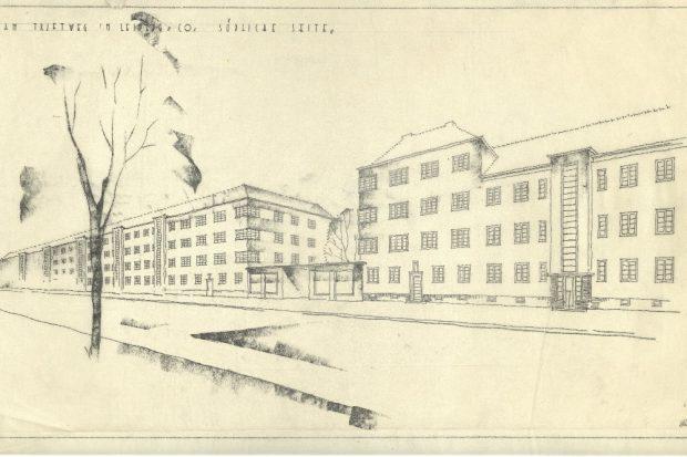 Koppes Entwurf für Wohnungsbauten am Triftweg in Leipzig-Connewitz, um das Jahr 1935. Quelle: Stadtarchiv Leipzig