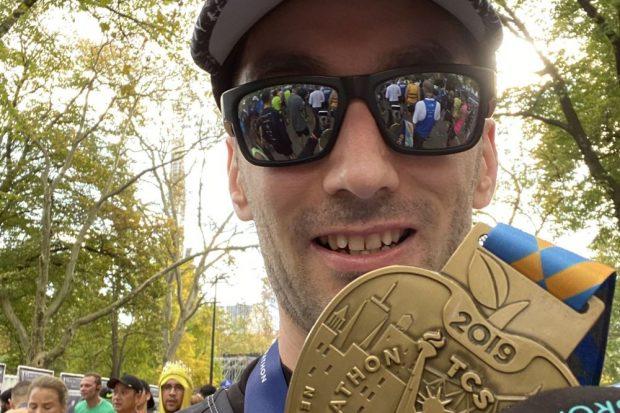 Stefan Elbinger im Ziel des New York City Marathons. Foto: privat