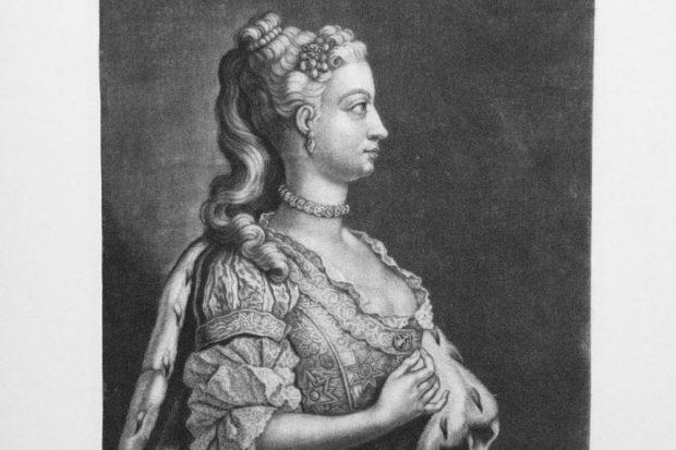 Mezzotinto mit dem Portrait von Prinzessin Anne (1709-1759) von Johann Christian Leopold, Augsburg um 1750 (Ausschnitt). Quelle: Stiftung Händel-Haus