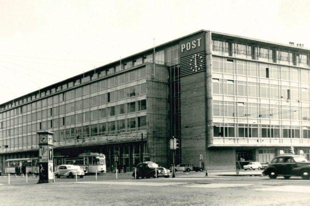 Neues Hauptpostamt am Karl-Marx-Platz in Leipzig, 1964. ©Sächsisches Staatsarchiv / Foto: Rolf Lotze