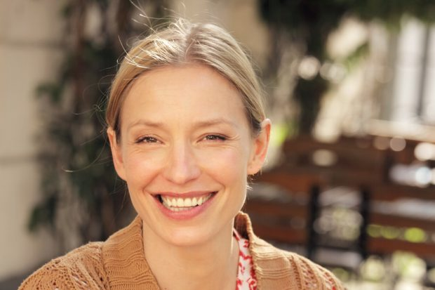 Schauspielerin Sandra Borgmann am 15. November 2019 in Leipzig bei den Buchkindern zu Gast. Foto: Emanuela Danielewicz
