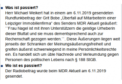 Das Statement von Juliane Nagel am 08.11.2019 via Twitter. Screen Twitter