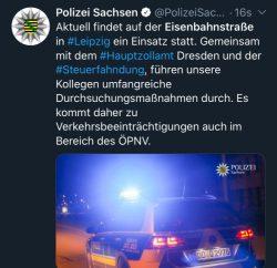 Twitternachricht der Polizei Sachsen am 12. November 2019. Screen Twitter