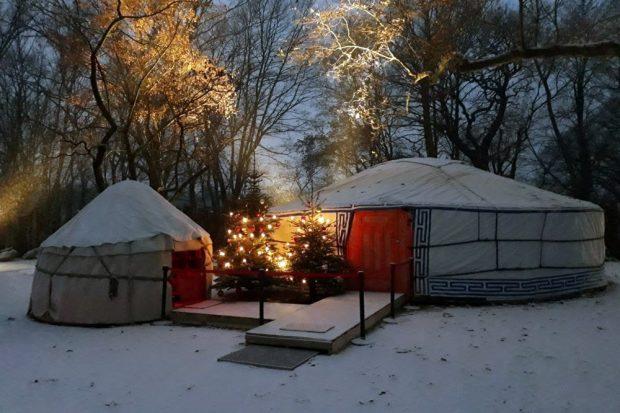 Weihnachtsjurte des Schauspiel Leipzig. Quelle: Zoo Leipzig
