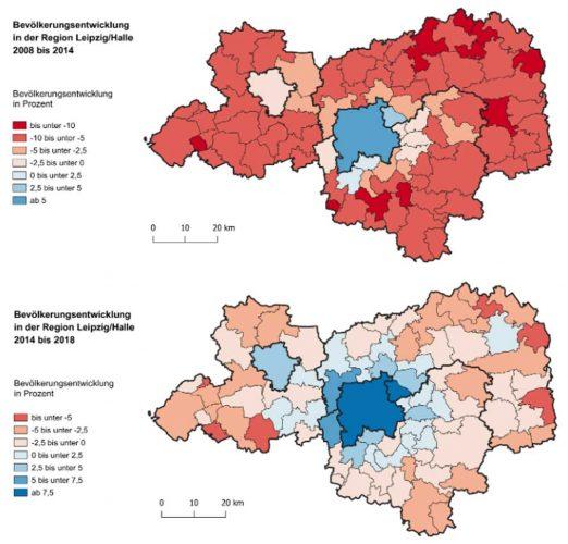 Bevölkerungsentwicklung im Raum Leipzig / Halle. Karte: Stadt Leipzig