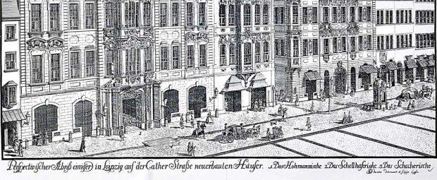Johann George Schreiber: Einige neu erbaute Häuser in der Leipziger Cather-Straße (der Katharinenstraße, um 1720). Foto: Verlag Rockstuhl