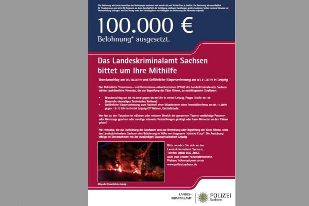 Das Fahndungsplakat des Landeskriminalamts. Grafik: Freistaat Sachsen, LKA