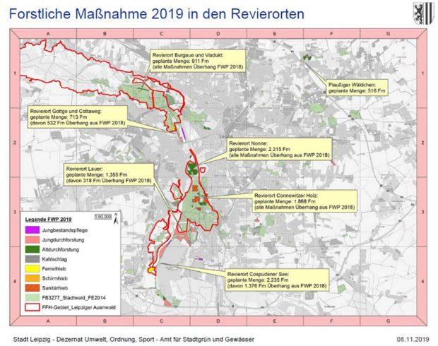 Karte der geplanten Baumfällungen im Forstwirtschaftsplan 2019. Karte: Stadt Leipzig