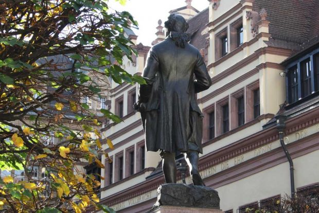 Goethe auf dem Leipziger Naschmarkt. Foto: Ralf Julke