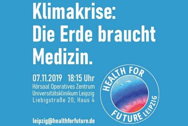 Klimakrise. Die Erde braucht Medizin. Grafik: Health for Future Leipzig