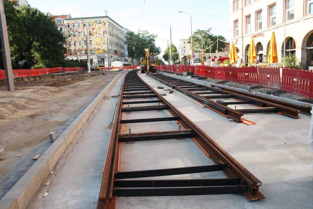 LVB-Baustelle in der KarLi 2014. Foto: Ralf Julke