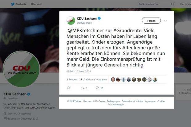 Der Tweet von Michael Kretschmer zum Grundrenten-Kompromiss. Screenshot: L-IZ