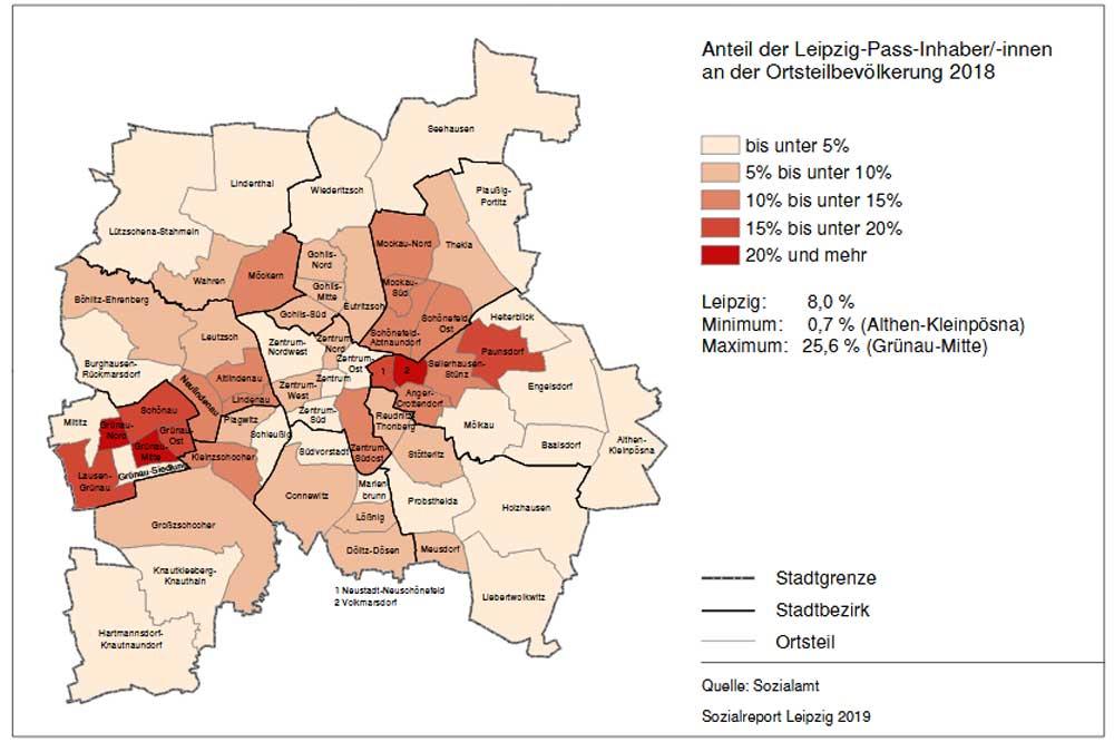Verteilung der Leipzig-Pass-Inhaber im Stadtgebiet. Karte: Stadt Leipzig, Sozialreport 2019