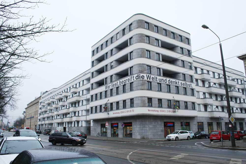 Von der CG-Gruppe gebaut und vermietet: das LKG Carré in der Prager Straße. Foto: Ralf Julke