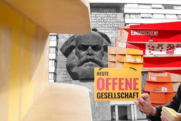 Gastspiel direkt unterm Karl-Marx-Kopf. Foto: Initiative Offene