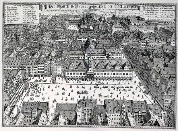 Johann George Schreiber: Leipzig, Markt mit Rathaus (1712). Der Marckt nebst einem großen Theil der Stadt Leipzig / J. G. Schreiber Math. Stud. deline-avit et sculpsit. Kupferstich (1712), 50 x 38 cm. Foto: Verlag Rockstuhl