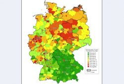 Überschuldungsquoten auf Kreisebene. Karte: Creditreform