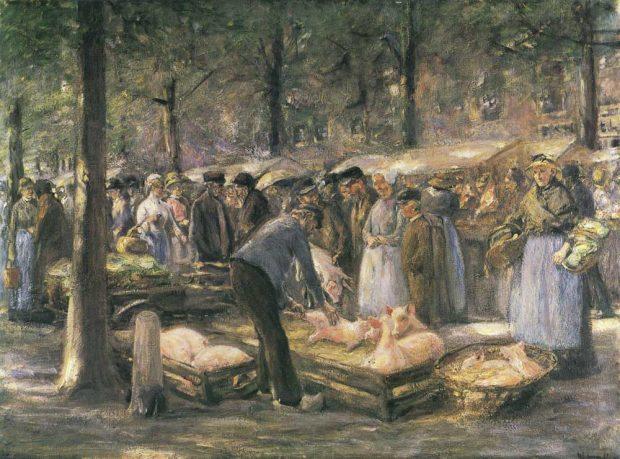 Max Liebermann: Schweinemarkt in Haarlem(2. Fassung), 1894,Hessisches Landesmuseum Darmstadt. Foto: Wolfgang Fuhrmannek