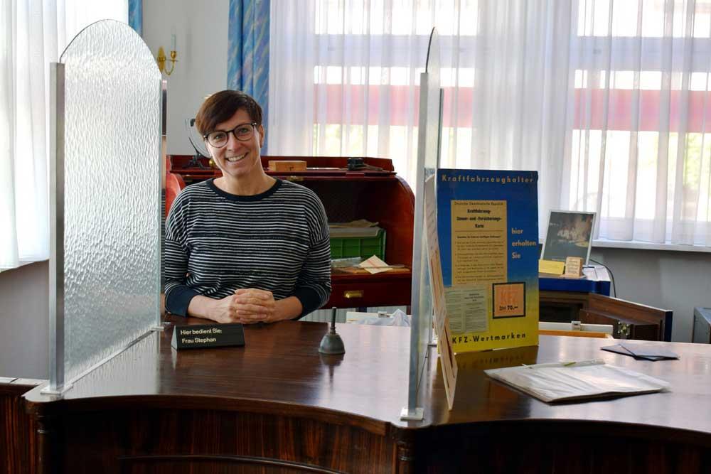 Willkommen am historischen Schalter. Foto: Stadt Grimma