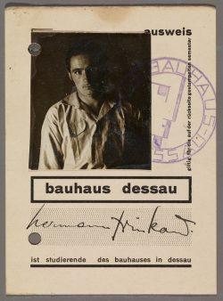 Der Bauhaus-Studienausweis aus dem Nachlass von K.H. Trinkaus, Leipzig 2019. Foto: Privat