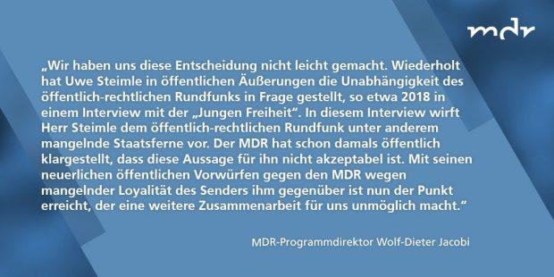 Das MDR-Statement zur Trennung von Uwe Steimle, verbreitet am 4. Dezember auf Twitter. Screen Twitter