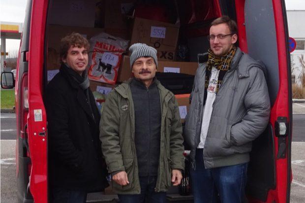 Michael Eichhorn (links), Ralph Rüdiger (Mitte) und Maximilian Schöpe (rechts) im Winter. © Ralph Rüdiger