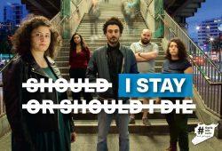 """Kampagne """"SyriaNotSafe"""": """"Soll ich bleiben oder sterben?"""". Syrien ist nicht sicher – wegen des Krieges und wegen Assad. © Kornelia Kugler"""