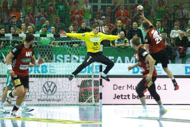 Die Paraden von Joel Birlehm waren das Fundament für den Sieg des SC DHfK Leipzig. Foto: Jan Kaefer