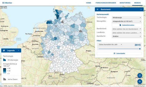 Die Anlagendichte von Windkraftanlagen in Deutschland 2015. Karte: UFZ