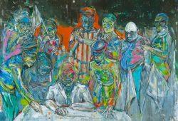 Undine Bandelin, Das Gesetz, 230 x 180 cm, Mischtechnik auf Leinwand, 2019. Foto: The Grass Is Greener