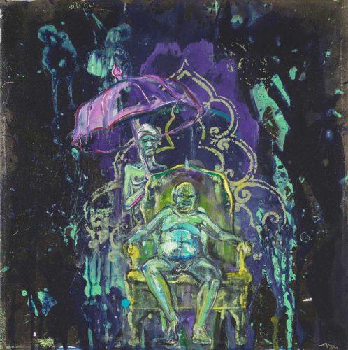 Undine Bandelin, Der König, 40 x 40 cm, Siebdruck und Mischtechnik auf Leinwand, 2019. Foto: The Grass Is Greener