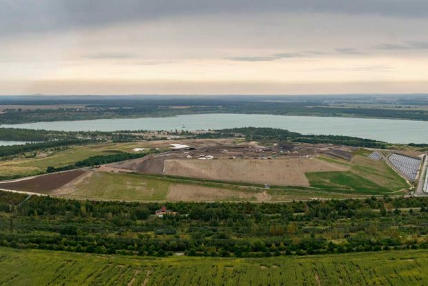 Luftaufnahme der Zentraldeponie Cröbern. Foto: ZAW / WEV