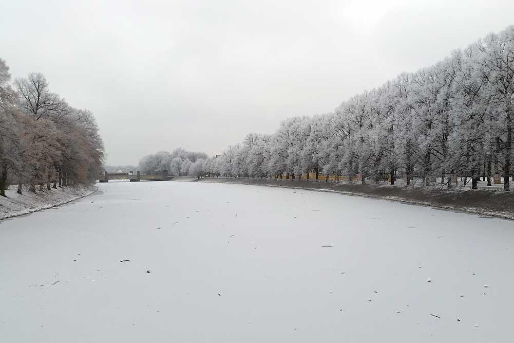 Im Januar 2017 fotografiert: das zugefrorene Elsterflutbett. Foto: Marko Hofmann