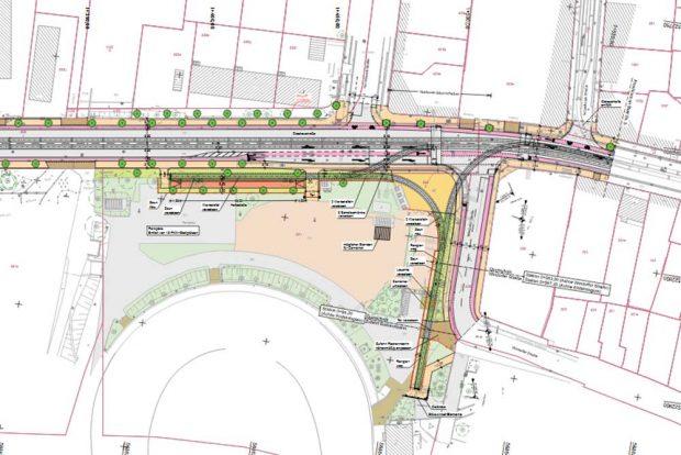 Das geplante Gleisdreieck an der Windorfer Straße. Karte: Stadt Leipzig