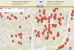 Zoom auf die Leipziger Innenstadt mit den konspirativen Objekten des MfS. Screenshot: L-IZ