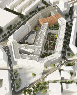Blick über das geplante Krystallpalast-Quartier. Visualisierung: Argo Capital Partners