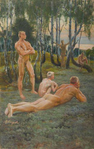 Max Seliger, Nackte Männer am Waldrand, 1897. Foto: MdbK