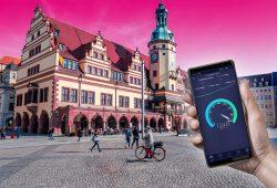 Speedtest auf dem Leipziger Markt. Visualisierung: Deutsche Telekom AG