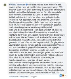 Das Problem nicht verstanden: wer beschwert sich noch über Einsatzbeamte? Screen: Facebook Polizei Sachsen