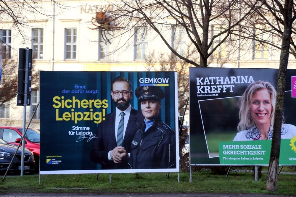 Rechts soziale Gerechtigkeit, links Sebastian Gemkow (CDU) mit einem