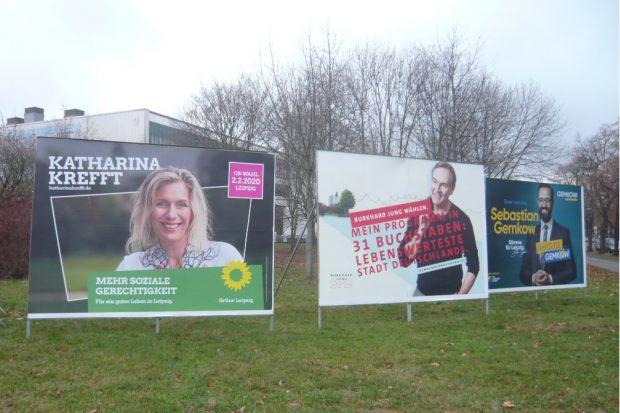 Großformat für alle: die Kandidaten der Leipziger OBM-Wahl. © Frank Willberg